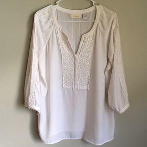 Chico's 2 White Peasant Romantic Lace Blouse XL